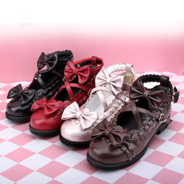 Angelic Imprint - Round Toe Sweet Lolita Flat Shoes with Bows