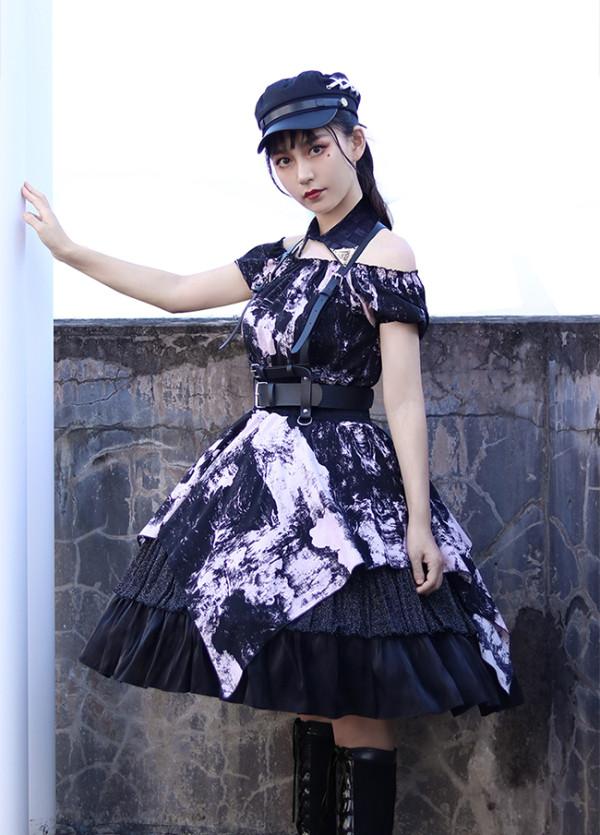 Milu Orig -Broken Wall- Gothic Punk Casual Lolita OP Dress