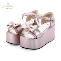 Angelic Imprint - High Platform Sweet Lolita Sandals with Bow and Pearl