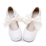 Angelic Imprint - Round Toe Wedge Heel Sweet Lolita Shoes with Big Bow
