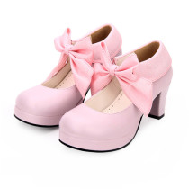 Angelic Imprint - Round Toe Wedge Heel Sweet Lolita Shoes with Big Bow