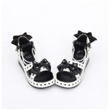 Angelic Imprint - Sweet Platform Lolita Sandals with Bow and Pearl
