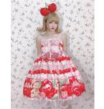 Diamond Honey -Cherry Bear- High Waist Sweet Lolita JSK