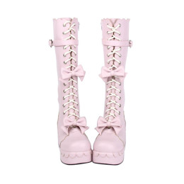 Angelic Imprint - Round Toe Sweet Platform Lolita Boots with Bows