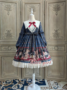 Alice Girl -Teddy Bear- Sweet High Waist Lolita OP Dress