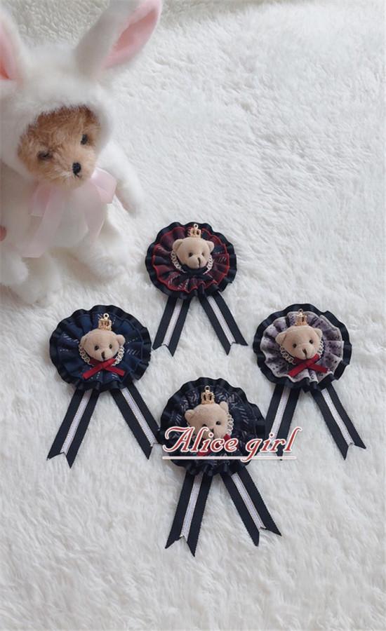 Alice Girl -Teddy Bear- Lolita Beret and Brooch