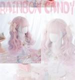 Alice Garden - Rainbow Candy 50cm Long Curly Wavy Pastel Pink Lolita Wig