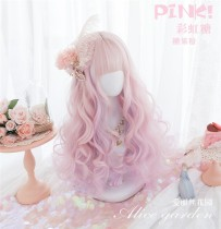 Alice Garden - Rainbow Candy 50cm Long Curly Wavy Pastel Pink Lolita Wig