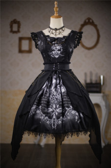 Kiyana -The Devil Wish- Halloween Gothic Lolita JSK and Overskirt Set