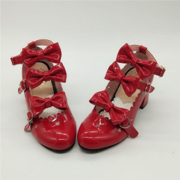 Antaina - Sweet Princess Round Toe Chunky Heel Lolita Shoes with Bows