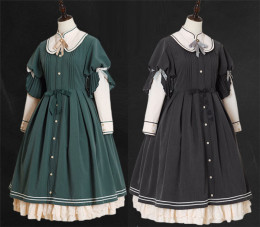 Mystery Maiden Classic Vintage Long Sleeves Lolita OP Dress for Autumn and Winter