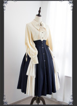 Black and White Vision Vintage Classic High Waist Lolita Skirt and Blouse