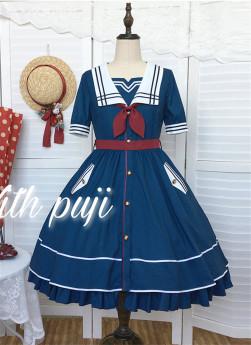 Withpuji -Sunny Day- Sailor Casual Lolita OP Dress