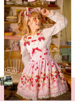 PinkyWinky -Strawberry Cream- Sweet Lolita Salopettes