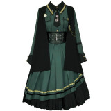 Withpuji -Burning Out- Ouji Military Lolita OP Dress, Cape and Corset Set