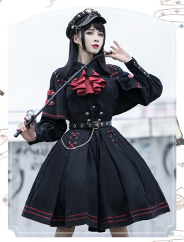 Crime Executive Ouji Military Lolita Topwear and Skirt Set