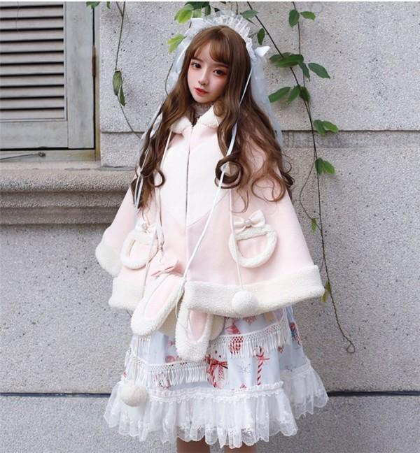 Yinluofu -Christmas Rabbit- Sweet Lolita Cape and Bag Set for Winter