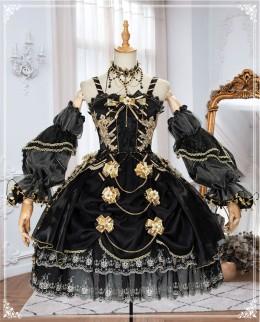 Yinluofu -Golden lily- Elegant Tea Party Princess Lolita JSK