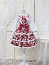 Alice Girl -Strawberry- Sweet Lolita Salopettes