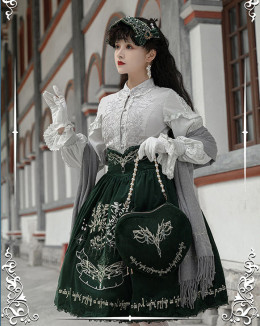 Ichigomikou -Silver and Gold Tree- Classic Velvet Lolita Skirt