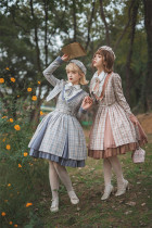 Fantastic Wind -Grid Picture Book- Classic Lolita JSK and Short Jacket Set