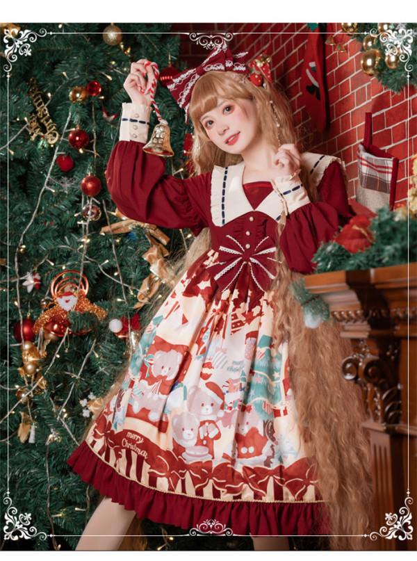 Eieyomi -Christmas Bear- Sweet Lolita OP Dress
