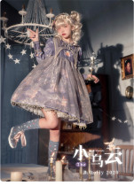 Baduoni -The Cloud- Sweet High Waist Lolita OP Dress and Headband Set