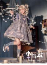 Baduoni -The Cloud- Sweet High Waist Lolita OP Dress and Headband Set