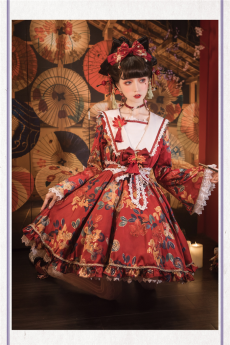 Red Autumnal Leaves Wa Lolita OP Dress