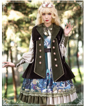 Yinluofu -Deep Cliff- Vintage Classic Lolita OP Dress and Sleeveless Cape