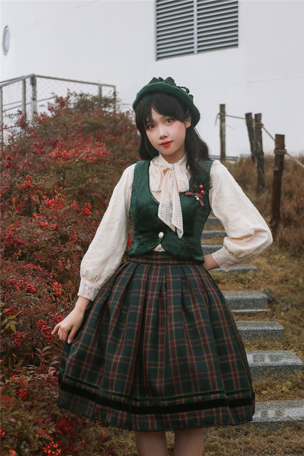 Miss Point -Song of Joy- Vintage Classic Casual Lolita Vest, Blouse and Skirt Set