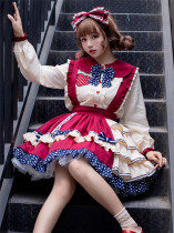 Eieyomi -Fruity Little Bear- Sweet Lolita Salopettes and Matched Blouse
