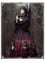 Yinluofu -Heart Queen- Gothic Lolita OP Dress with Body Sash