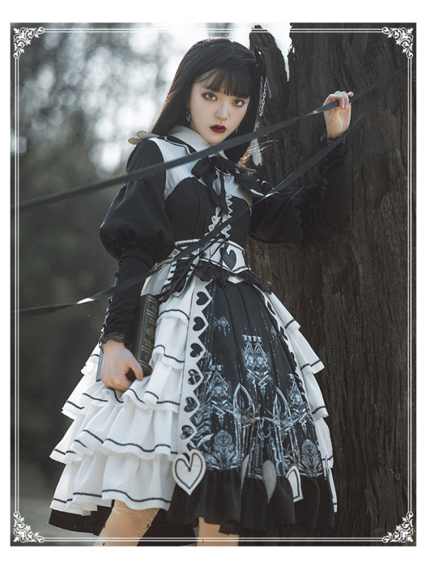 Yinluofu -Eye of Red Heart- Classic Lolita OP Dress Set