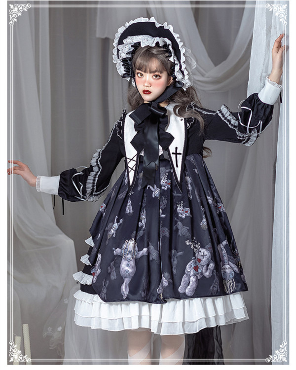 Yinluofu -Evil Doll- Classic Lolita OP Dress with Detachable Collar
