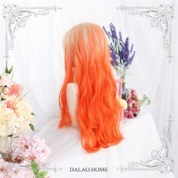 Dalao - 65cm Long Curly Wavy Orange Lolita Wig