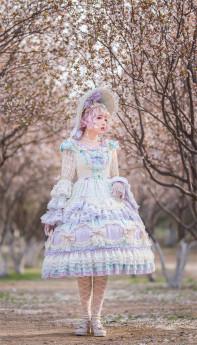 Fantastic Rainbow Bubbles Tea Party Princess Lolita OP Dress