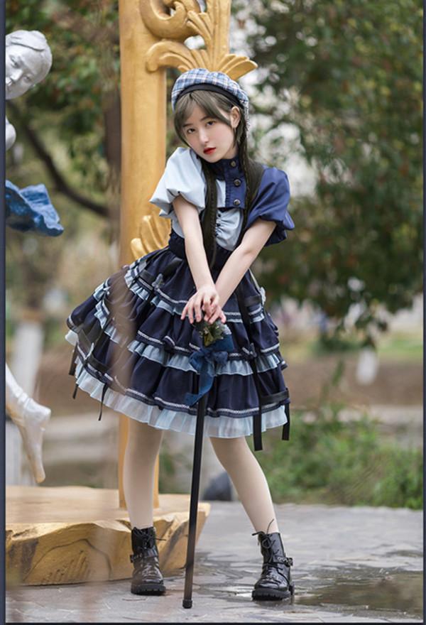 Withpuji -The Star- Punk Lolita JSK and Short Topwear Set
