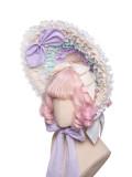 Fantastic Rainbow Bubbles Tea Party Princess Lolita Bonnet