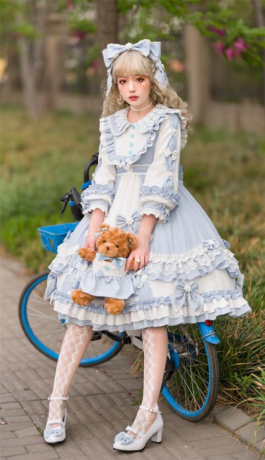 Summer Wave High Waist Sweet Lolita OP Dress