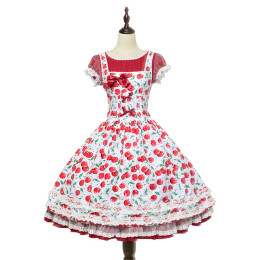 Magic Tea Party -Cherry Tea Party- Sweet  Normal Waist Lolita OP Dress