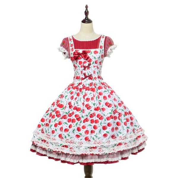 Magic Tea Party -Cherry Tea Party- Sweet  Normal Waist Lolita OP Dress