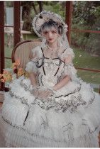 Stars in the Night Tea Party Princess Wedding Lolita JSK Dress with Arm Sleeves