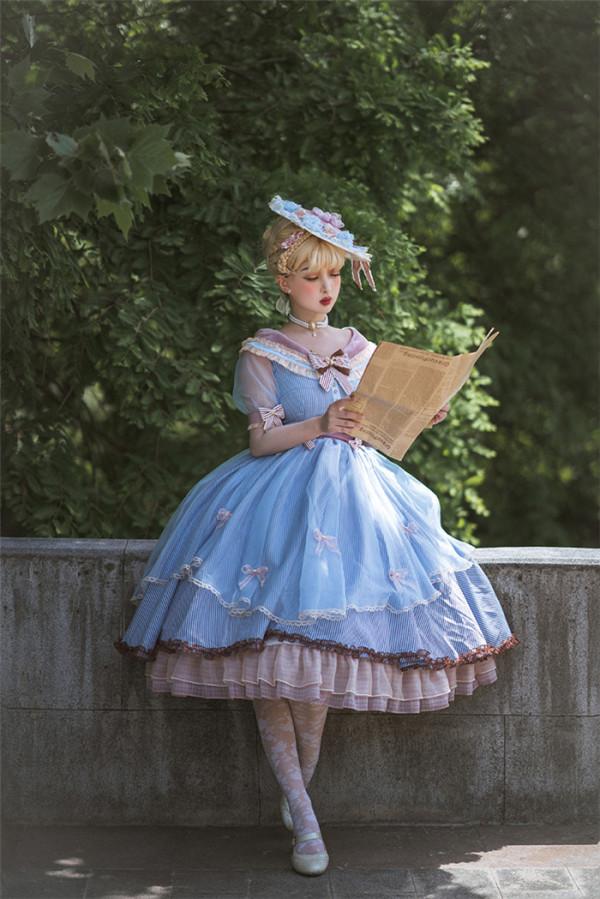 Fantastic Wind -Sea Salt- Classic Elegant Lolita OP Dress and Hat