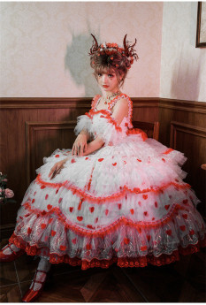 Rose in the Snow Night Tea Party Princess Wedding Lolita JSK Dress with Arm Sleeves