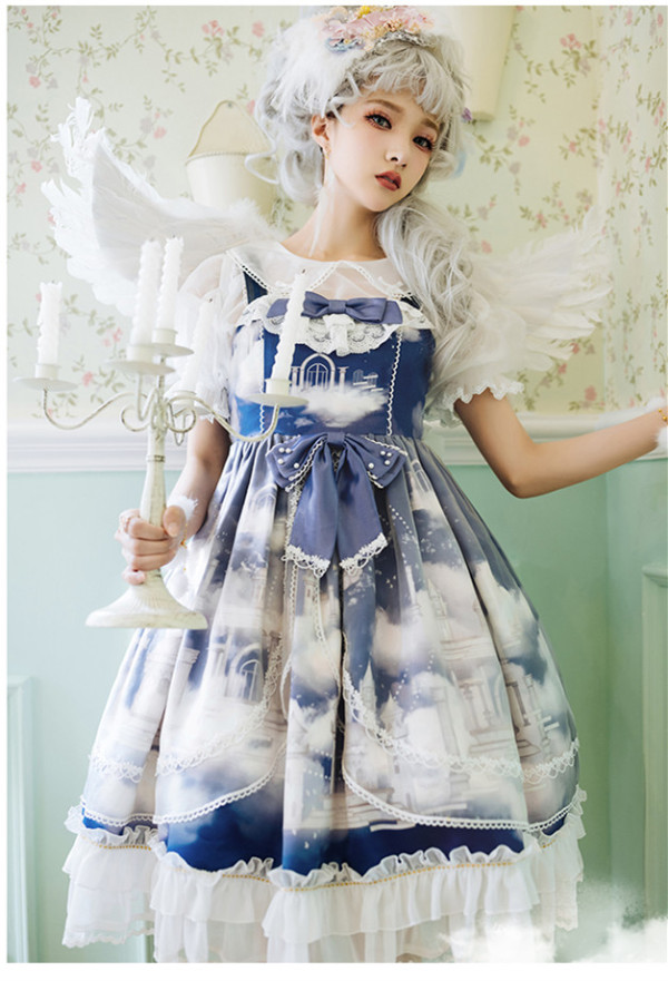 Dream of the Sky Classic Lolita JSK and Hairclilp