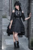 CatHighness - Black Dragon- Qi Lolita Dress and Hairclip