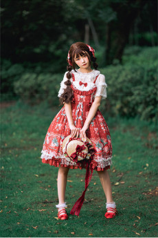 Baduoni -Strawberry Garden Story- Sweet Lolita JSK and Hairclips