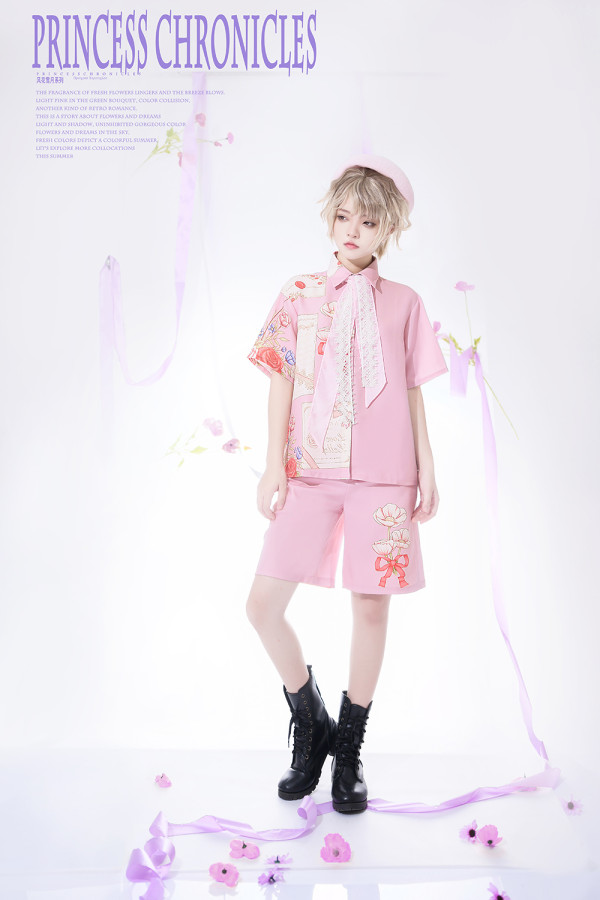 Princess Chronicles -Flower in the Moonlight- Ouji Lolita Printed Blouse and Shorts