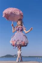 Fantastic Wind -Moon in the Sea- Princess Embroidery Lolita OP Dress and Headdress